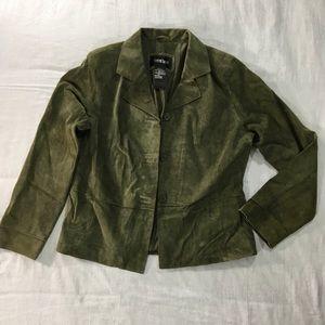 Brandon Thomas large green suede coat 100% Leather